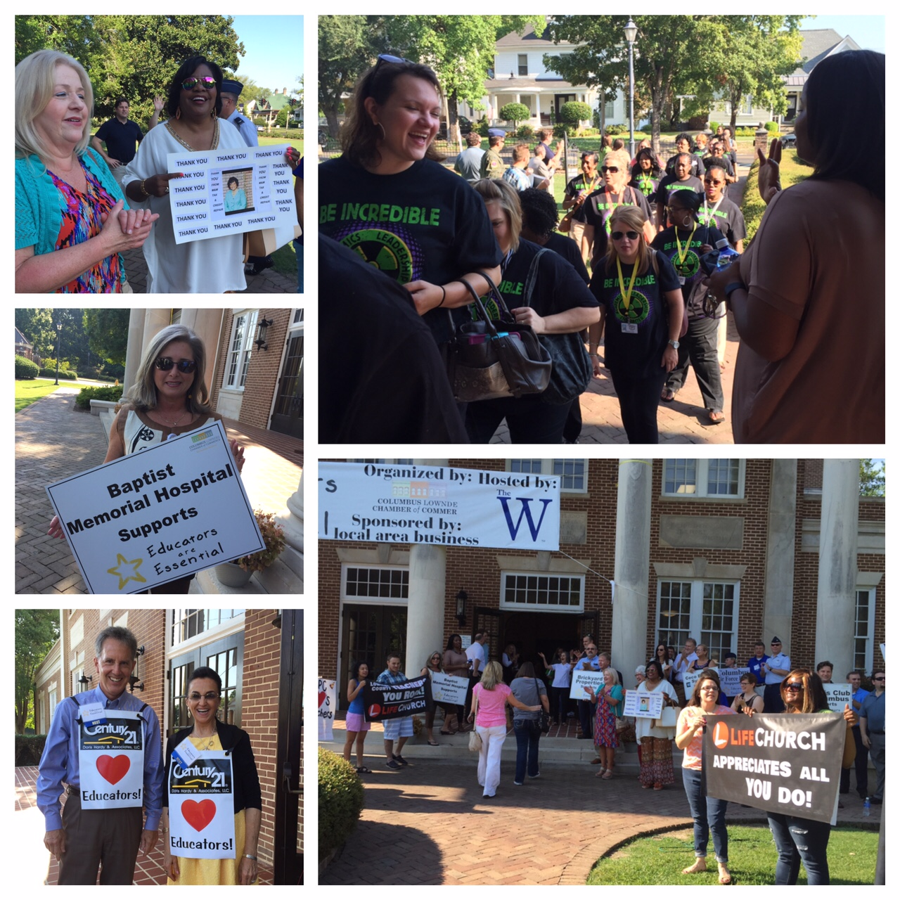 photo collage of smiling people at event holding signs