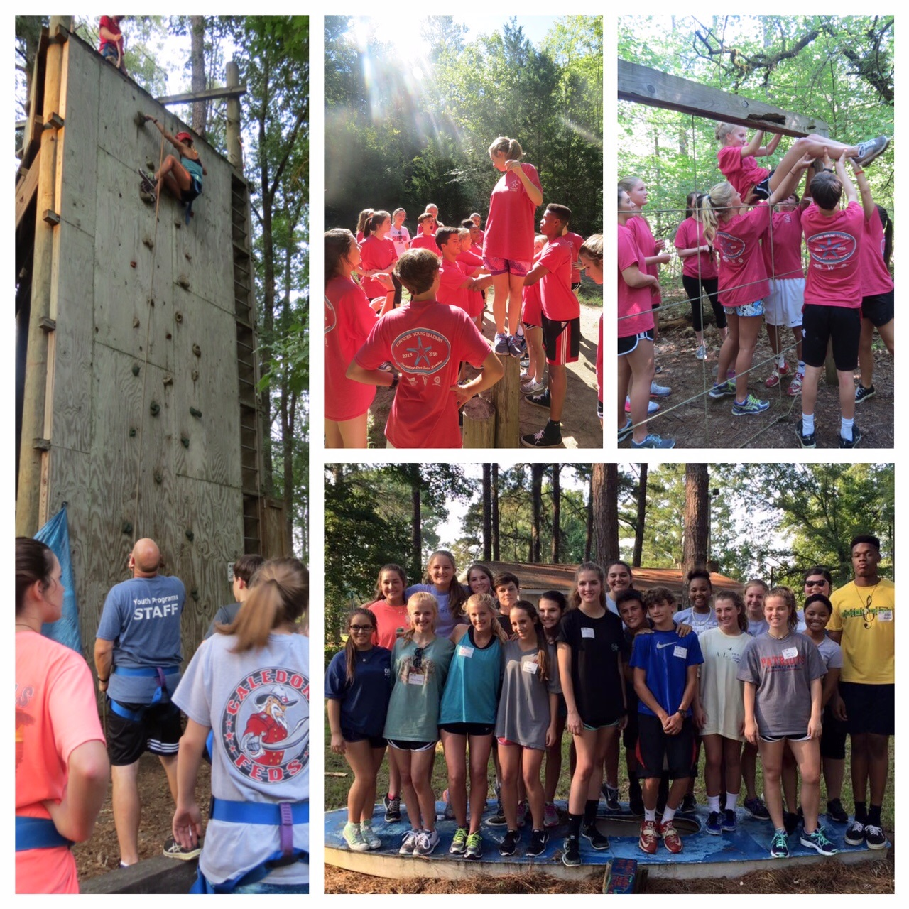 photo collage of young people at a climbing wall